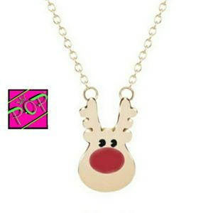 Jewelry - Red nose reindeer necklace, gold